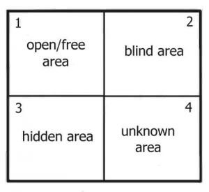 The 4 regions of the Johari Window for business